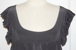 Geren Ford Charcoal Silk Pleat Ruffle Babydoll Dress Tunic Sz L New
