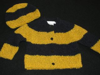 Anne Geddes Baby Bee Sweater Cardigan Hat 3 6 Months