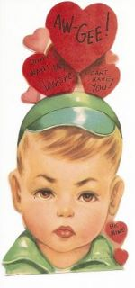 Vintage Valentine Card Unused Boy AW Gee