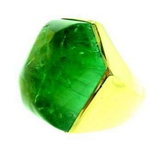 Elizabeth Gage 18K Green Tourmaline Ring