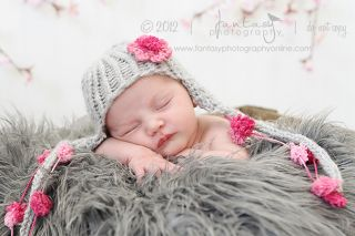 Handmade Crochet Ear Flap Hat Pom Pom Flower Baby Newborn Photography