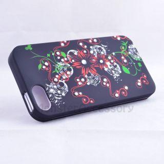 red flower gem bling hard case cover for apple iphone 5 5g