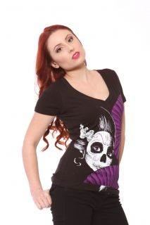 Akumu Ink Day of The Dead Geisha V Neck Dia Del Muerte