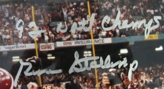 Gene Stallings Alabama Signed Autographed Inscrip 92 Natl Champs 16x20