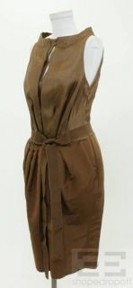 Gianfranco Ferre Brown Silk Belted Dress Size 42 Current New