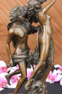 Signed Bernini Apollo and Daphne Bronze Sculpture Mythical Marble Base