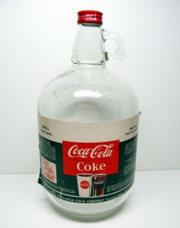 Cola One Gallon Syrup Jug with Coke Lid Vintage Ball Jar Glass Bottle