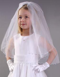 Girls White Wedding Bridesmaid Christening Veil