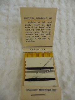 Vintage Hosiery Mending Kit Advertising Galva Illinois