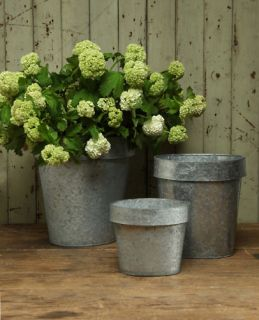 Set of 3 Metal Oval Galvanized Containers Garden Planters Flower Pots
