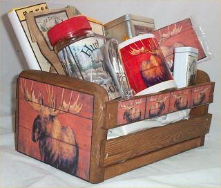 Moose Wood Crate Gift Basket Lodge Fun Gift Men Gifts