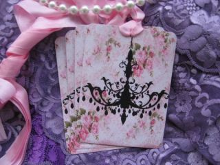 Shabby Chic Style Chandelier Pink Roses Gift Cards Hang Tags