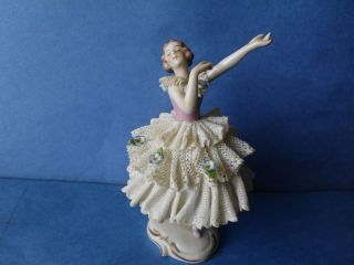 BEAUTIFUL Antique VOLKSTEDT Dresden Lace Porcelain Lady Figurine