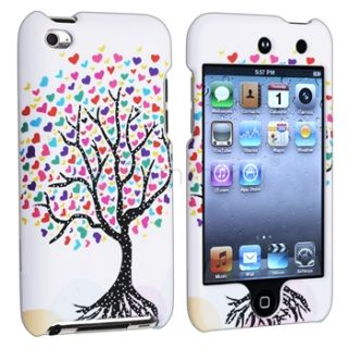 Love Tree Hearts White Hard Case Cover for iPod Touch 4th Gen 4G 4
