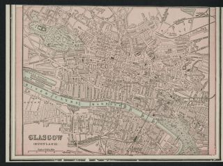 Glasgow Scotland Street Map Plan Authentic 1899 Detailed But Small
