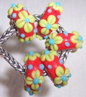 Flower Lampwork Glass Beads Fit European Charm Bracelet 1183
