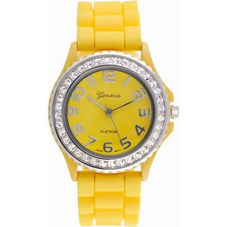 Mens Womens Large Geneva Silicone Jelly Rubber Watch w Crystals