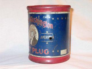 Vintage George Washington Cut Plug Tobacco Tin R. J. Reynolds Co w
