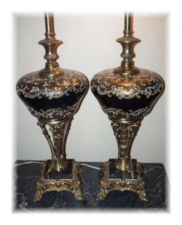 Vintage / Antique MARBLE & GLASS LAMPS Black & Gold Hollywood Regency