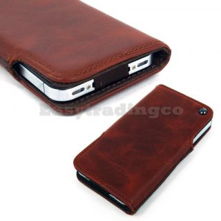 Brown Genuine Leather Case Pouch Pocket for Apple iPhone 4 4S