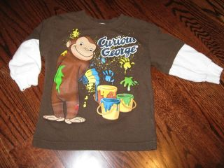Curious GEORGE monkey brown l sl layer T shirt PAINT fall child boy 2T