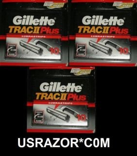 30 Gillette Trac II Plus Blades Cartridges Refills Fit Schick Super 2
