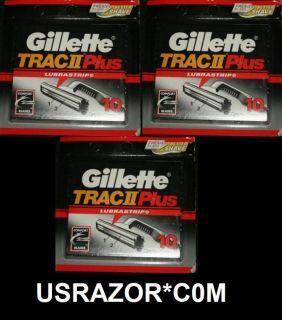 30 Gillette Trac II Plus Blades Cartridges Refills Fit Schick Super 2