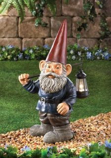 21 Tall Classic Garden Gnome Statue Holding Light Up Hanging Lantern