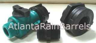 Rain Barrel Garden Hose Connection Kit fits cisterns and other
