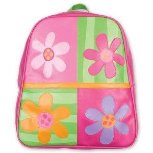 Pink Green Kids Flower Backpack Girls School Book Bag