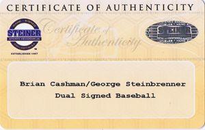 George Steinbrenner Brian Cashman Dual Signed MLB Baseball Steiner COA