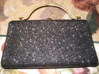 Vintage Black Glitter Purse Clutch Bag Real Nice