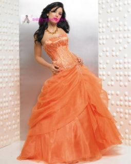 Glace Orange Yellow Wedding Dress Ball Party Gown Size 6 8 10 12 14 16
