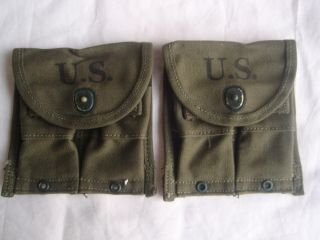 M1 CARBINE MAGAZINE POUCHES WW2 ORIGINAL GEORGE S RUMLEY CO SURPLUS