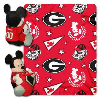 Georgia Bulldogs UGA Disney Mickey Mouse Plush Hugger w Fleece Throw