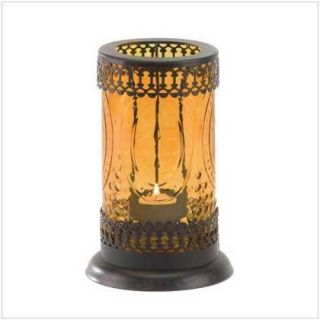 Standing Amber Glass Moroccan Lantern Candle Holder