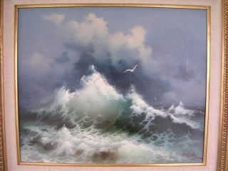 Eugene Garin Seascape Solitude in Motion Original Signed Oil Painting