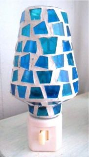Mosaic Night Light Ocean Blue Beach Seaside Glass Lamp Shade