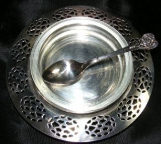 Oneida Silversmiths Glass Holder w Silver Spoon Tray