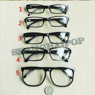 Black Clear Lens Slim Large Frame Glasses Vintage Retro Thin Nerd Geek
