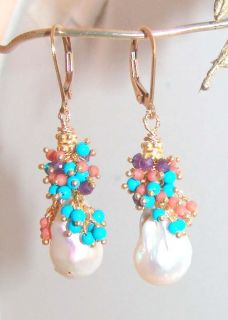 14k Gold Leverback GF Baroque South Sea Pearl Coral Turquoise Earrings