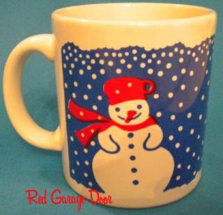 Waechtersbach Snowman Mug Blue Winter West Germany Chip