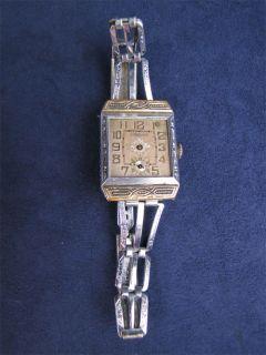 Vintage Art Deco Goering Wristwatch Gold Silver Metal