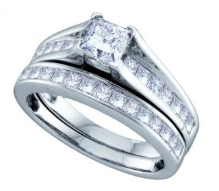 Ladies White Gold 1 51ct Princess Solitaire Diamond Engagement Ring