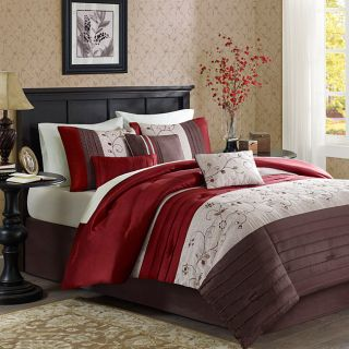 Beautiful Rich Elegant Red Gold Comforter Set 7 PC King Queen Sizes