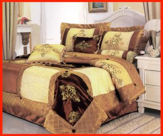 Floral Luxury Satin Bed in A Bag Comforter Set Queen Size Gold