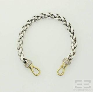 David Yurman Sterling Silver 18K Yellow Gold Diamond Bracelet