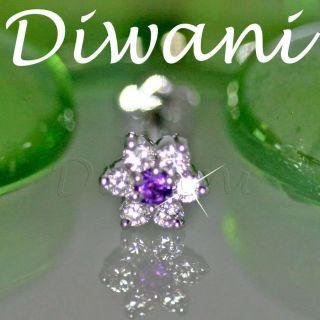 Amethyst Flower Engagement Wedding 14k Gold Nose Stud Piercing Ring