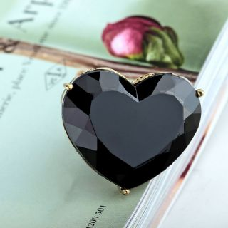 Antique Gold Plated Large Acrylic Heart Cocktail Ring Black