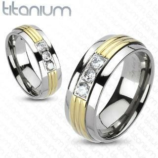 Titanium Gold Striped Triple CZ Ring Easy Fit Band
